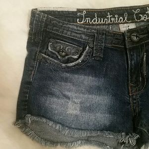 Industrial Cotton Distressed Jean Shorts